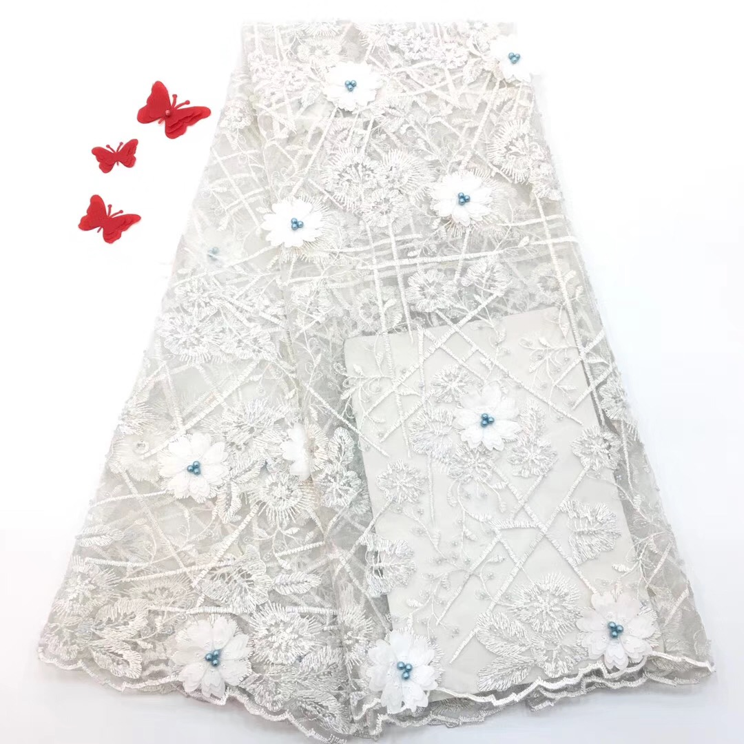 African Laces Fabric Embroidered nigerian Guipure French Lace Fabric High quality 2019 African French Net Lace Fabric RF128