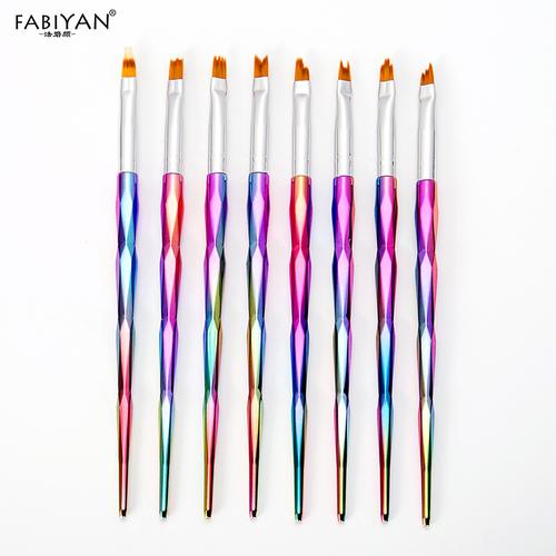 8 Pz / set Nail Art Brush Pittura Rainbow UV Gel Acrilico polacco French Moon Sorriso Suggerimenti disegno Fiore Gradient Pen Manicure Tools