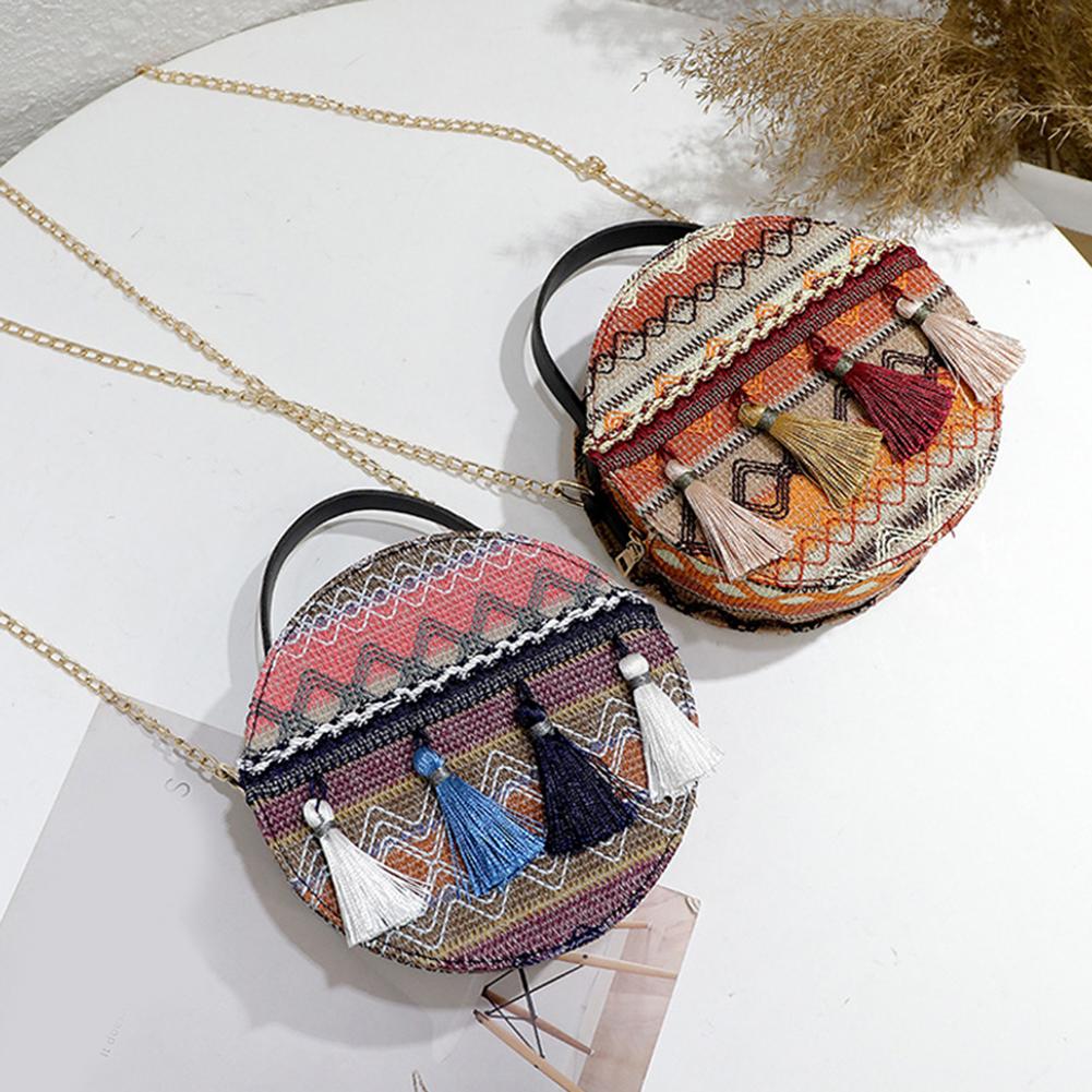 Fashion Women Boho Ethnic Style Chain Small Round Tassel Shoulder Bag Crossbody