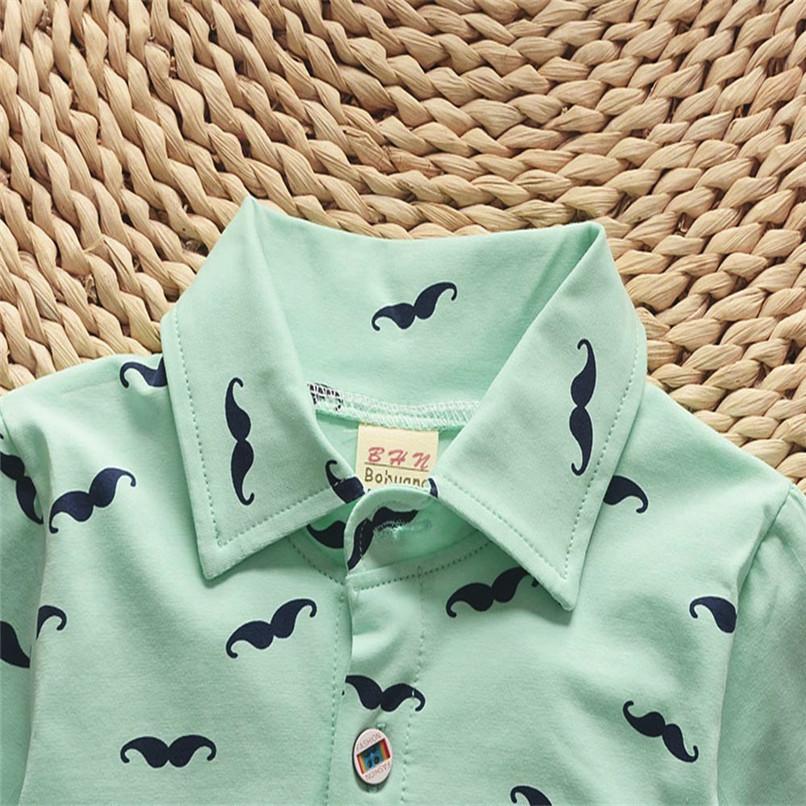 2PCS Baby Clothes Toddler Kids Baby Boys Short Sleeve Beard Print T-Shirt Tops+Letter Shorts Pants Set Boy Sets Clothes M8Y30#F (9)
