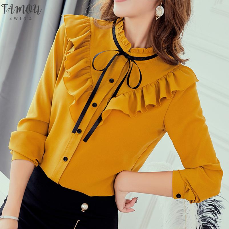 2020 Automne Printemps Chemises Femmes Coréennes V Cou Blouse De Mode Mince Blouses Casual Top Bureau Dames En Mousseline De Soie Chemise Blusas Mujer