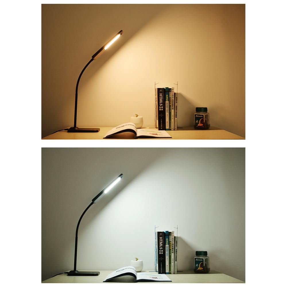 Lampada da tavolo a LED BRELONG Lampada da lettura studio dimming Uscita USB Ricarica Protezione gli occhi Luce notturna Bianco Nero