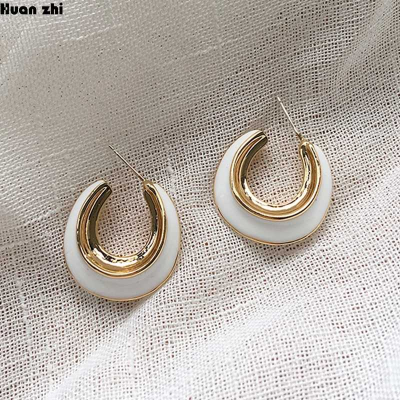 primerry White Small Square Geometric Seashell Brass Ear Clip Earrings Accessories