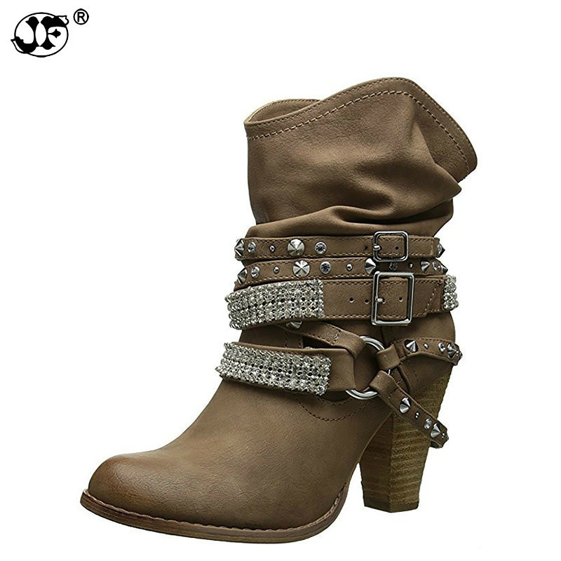 Women's boots crystal spike heels ankle boots big size 4.5-10.5 hard-wearing designer female boot 2018 fashion autumn889