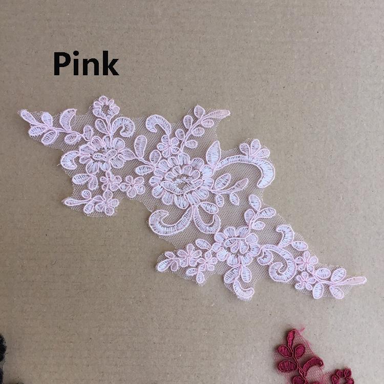 Apliques de Encaje de Algodón de Novia Vestido para Boda Adorno Floral Bordado Motif 1 Par