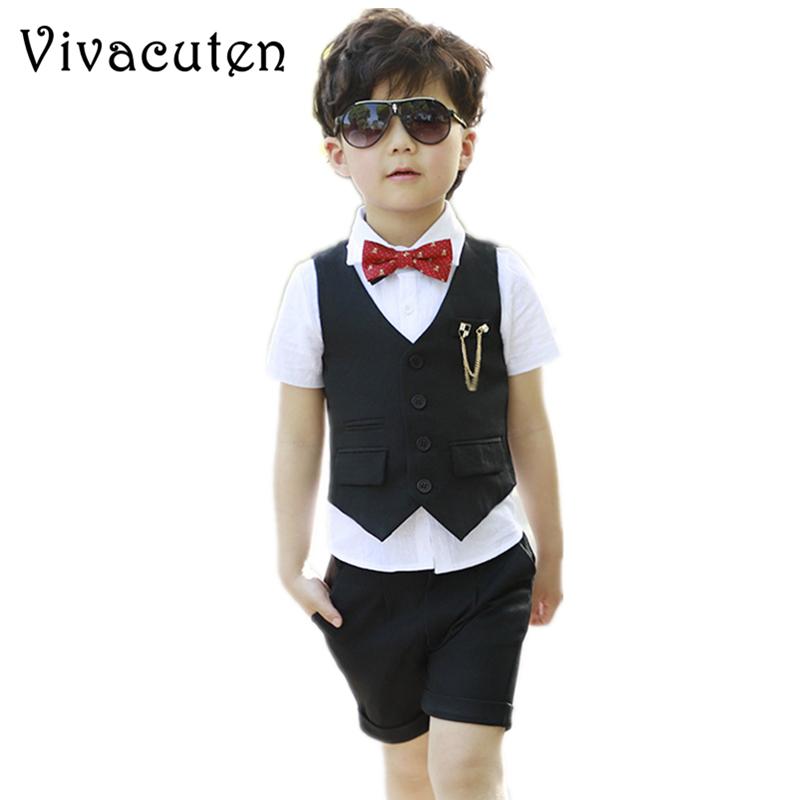 Baby Boy Costume Argent Gris Foncé Costume Habits de Mariage Baptême Formel Wear