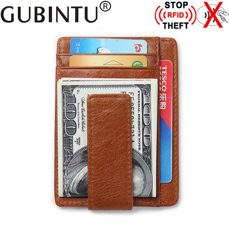 Mens Genuine Leather RFID Front Pocket Wallet Minimalist Magnetic Clip Card Holder Multi-card Card Package-Black