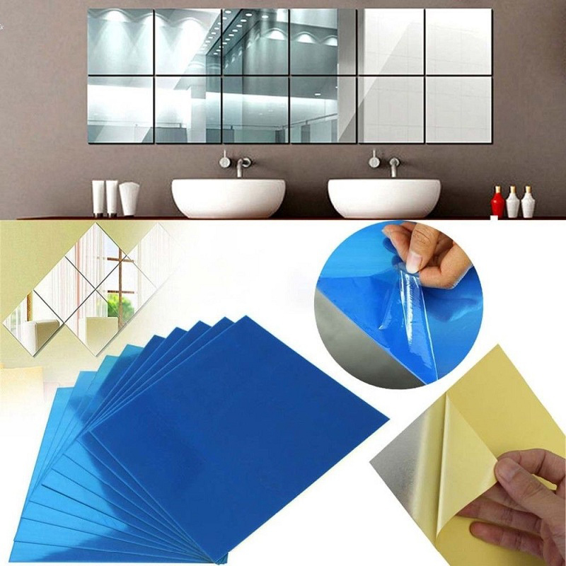 Pegatina espejo 24 Unidades Espejo Adhesivo 15x15cm para Cuarto de Ba/ño Dormitorio Papel Tapiz Pegar Mosaico Espejo