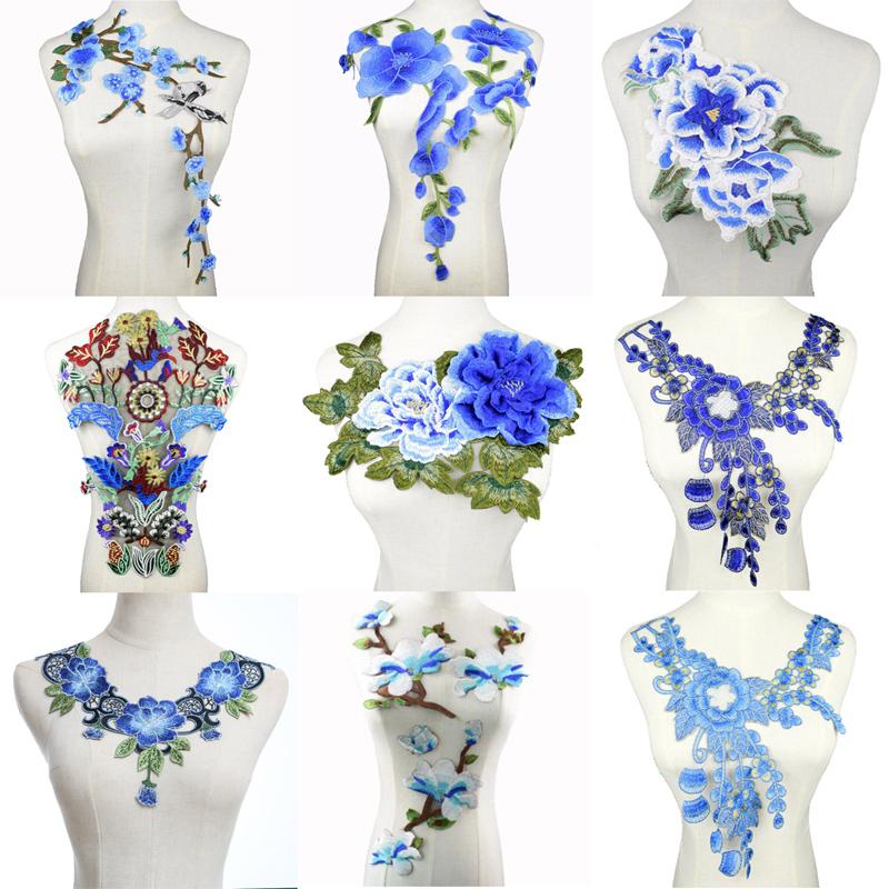 1Pcs Spitze Kragen Ausschnitt Blumen Stickerei Spitze Applique Schwarz Weiss