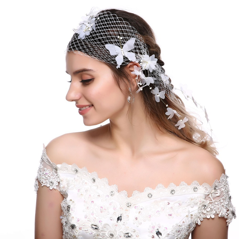 Female Pure White Mesh Butterfly Pearl Headband Hair Accessories Wedding Wreath Princess Ladies Garland Bride Headwear