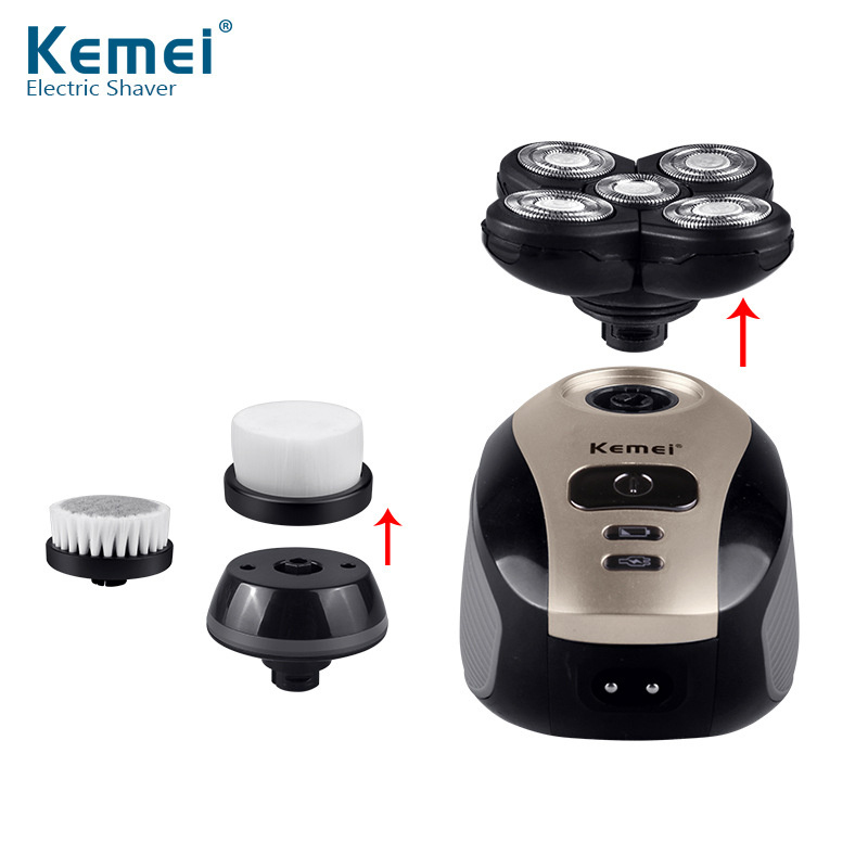 Kemei 5 In 1 Electric Shaver Washable 5 Blade Heads Electric Shaving Rechargeable Razors Multifunction Men Face Care Tools D35 T10190617