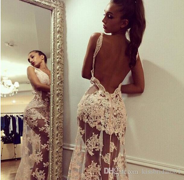 Sexy Backless 2018 Prom Dresses Sheer Lace Long Formal Evening Gowns With V Neck Floor Length Illusion Body Gowns