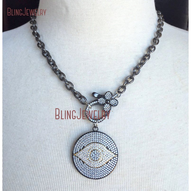 20181010-NM18382-gunmetal and gold pave crystal evil eye disc pendant with pave crystal flower clasp on gunmetal chain necklace