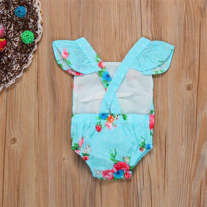Summer Girls Sets Cute Toddler Baby Girls Bodysuit Sleeveless Floral Jumpsuit Romper+Headband Clothes Set M8Y07 (4)