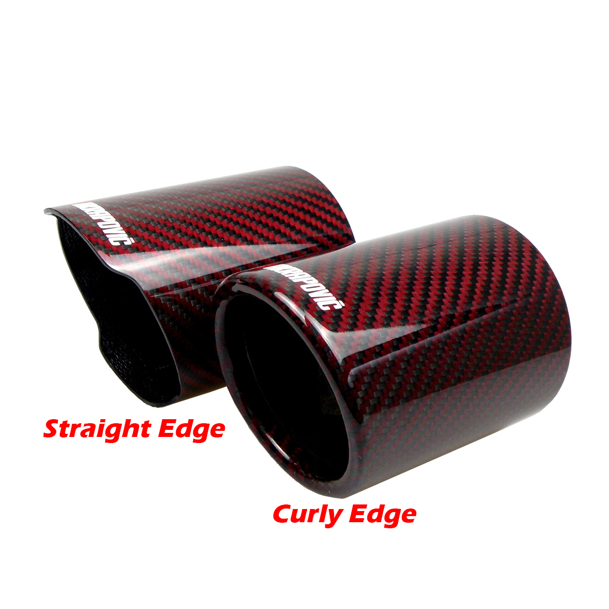 64mm Red Car Auto Exhaust Pipe Tail Muffler Tip Stainless Steel 160mm