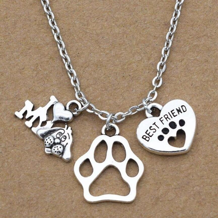 Mascota Perro Gato Memorial Pata De Corazón De Plata Collar le dejó pata huellas en mi corazón