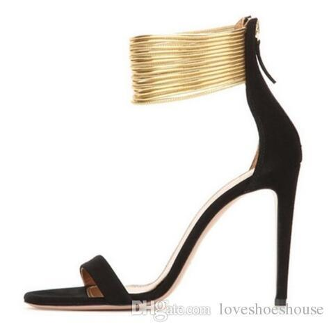 Charm2019 Sexy Gold Ankle Straps High Heel Sandals For Women Cut-out Thin Heel Summer Dress Shoes Back Zipper Strappy Sandals