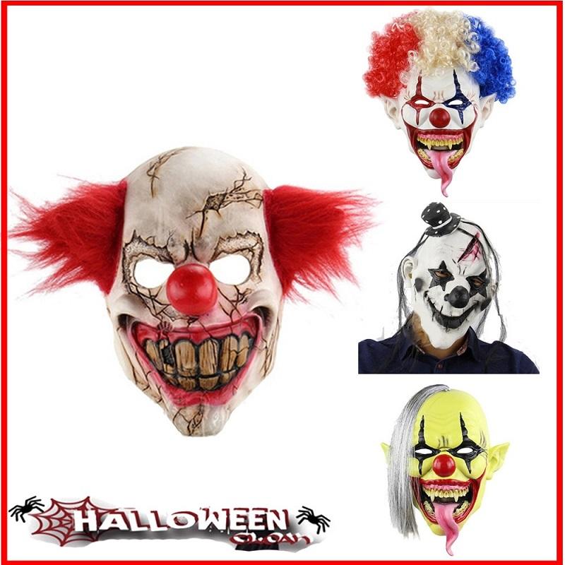 Bald Head Clown Mask Horror Latex Full Mask Frighten Halloween Evil Big Head MAS