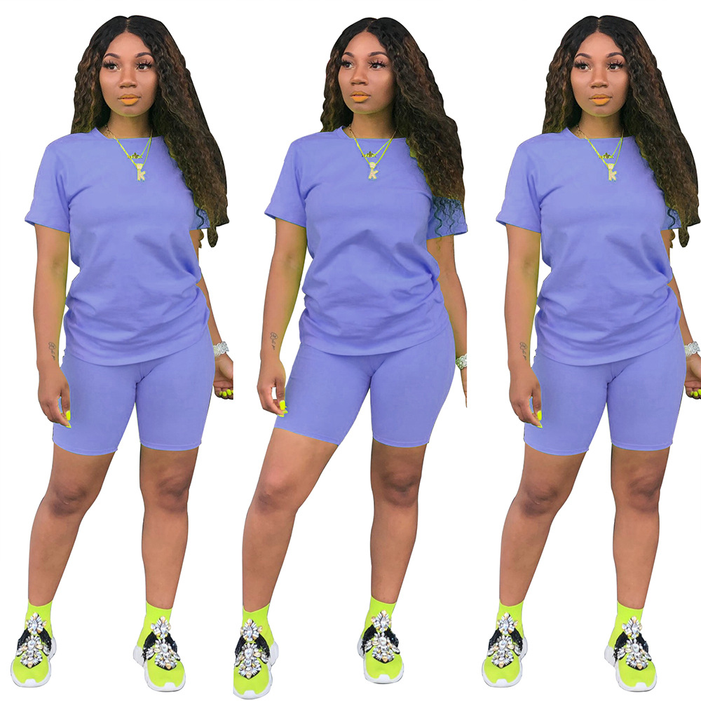 2019 Womens Summer 2 pièces Shorts Set Club tenues tenues de couleur unie T-shirts à manches courtes Bodycon Shorts Sport Set Combinaison Barboteuse