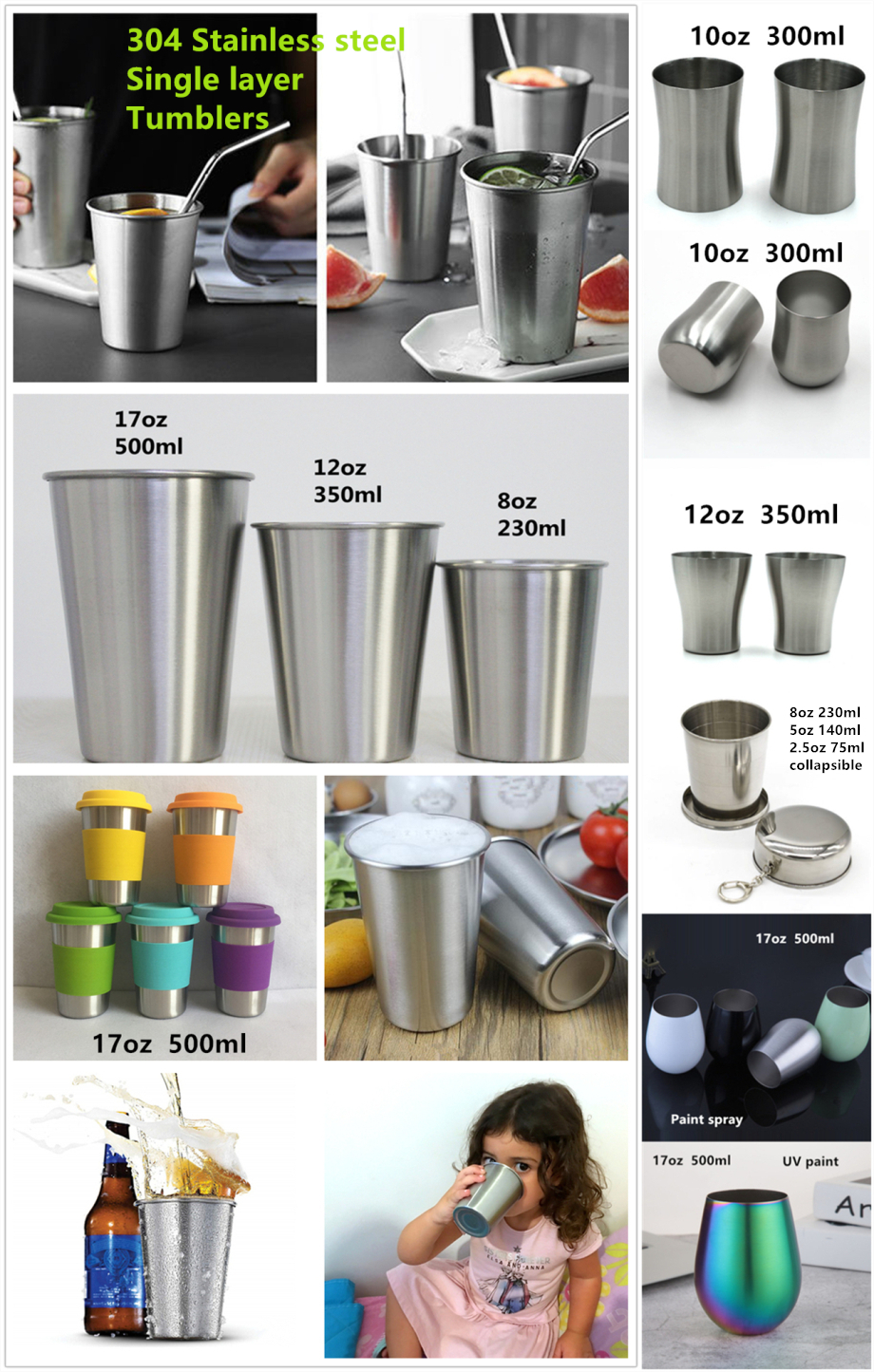 304 Stainless steel tumbler single wall mug wine beer coffee water glass egg shaped cup collapsible portable full-range sizes 20oz to 2oz