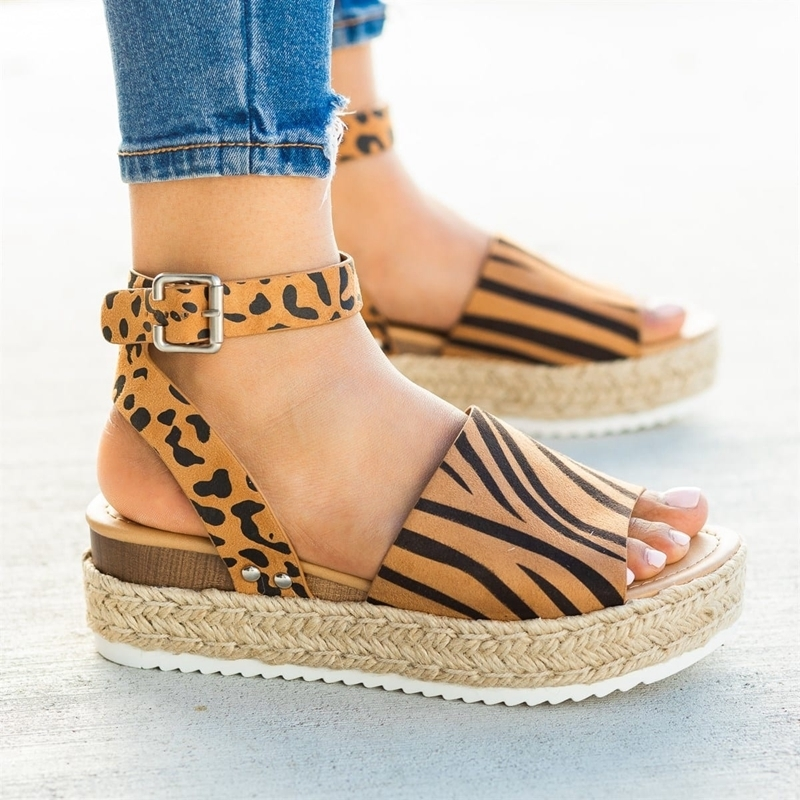 Laamei Wedges Shoes For Women Sandals Plus Size High Heels Summer Shoes Leopard Slides Chaussures Femme Platform Sandals 2019 Y190706