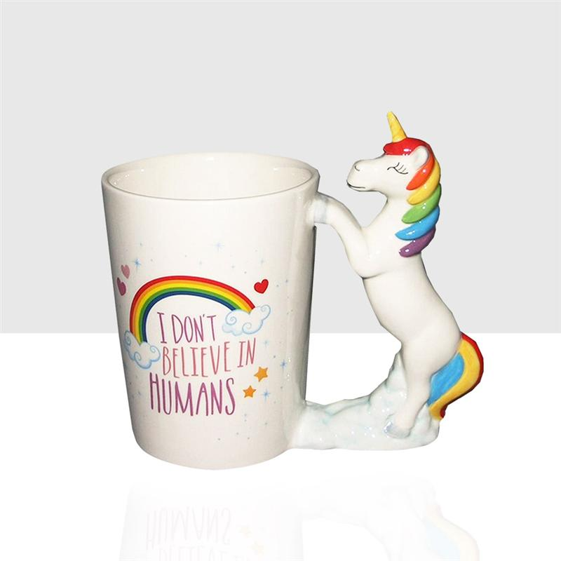 Unicorn Mugs Cartoon Porcelana 3D Pintado a mano Cerámica Cute Funny Animal Water Cup Coffee Mug para el hogar Drinkware