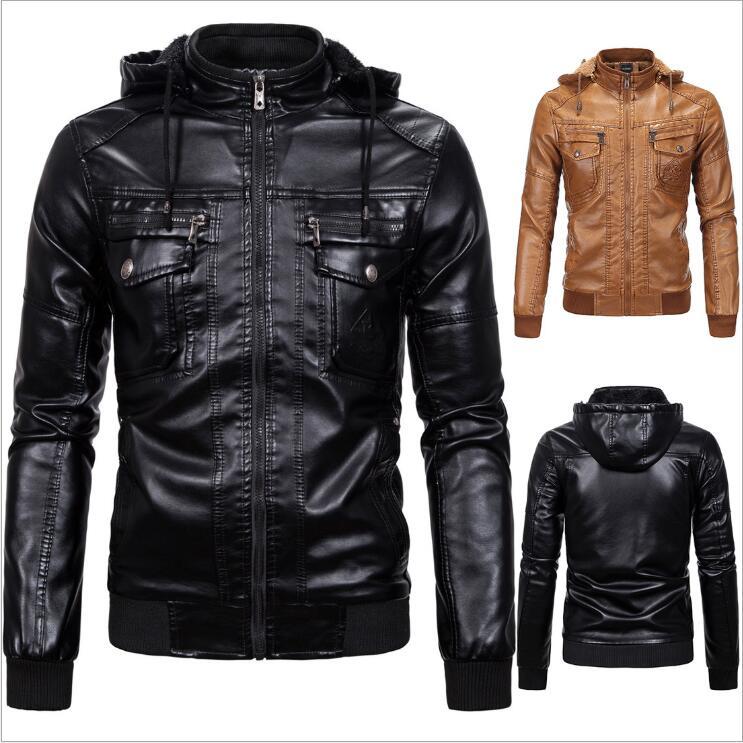 Men/'s Leather Jacket Nero Tinta Unita Stile Biker Motociclista Vera Morbida Pelle D/'Agnello FASHION STYLE