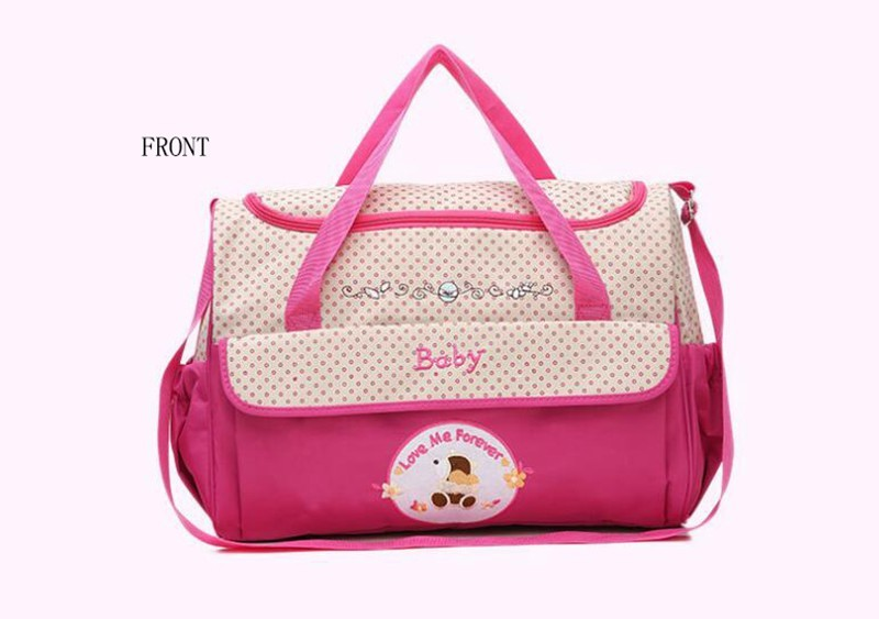 CROAL CHERIE 381830cm5pcs Baby Diaper Bag Sets changing Nappy Bag For Mom Multifunction Stroller Tote Bag Organizer (4)