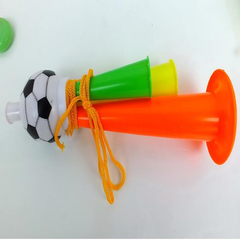 Colorful Horn Football Shaped Three Tubes High-pitched Voice Horns Birthday Party Make Sound Supplies