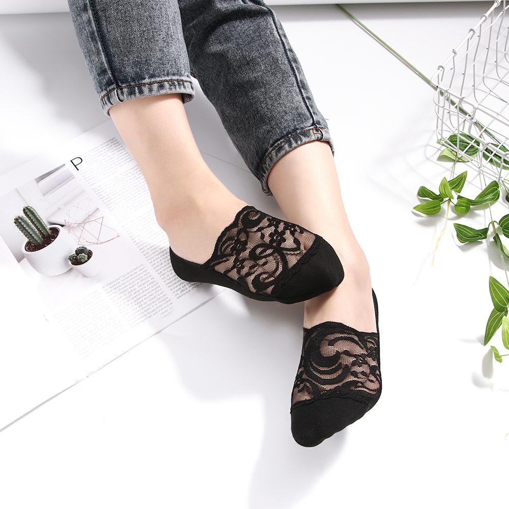 WMING-womens socks 4 Paia di Calze di Cotone Calze da Donna Calze di Pizzo Lucido Oro e Argento Calze per Le Donne