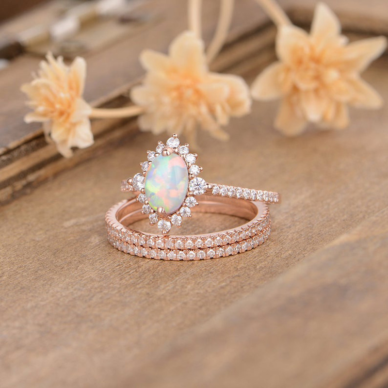 3Pcs//Set Austrian Blue Crystals Rings for Women Oval Ring Wedding Engagement Ring Fashion Jewelry,9