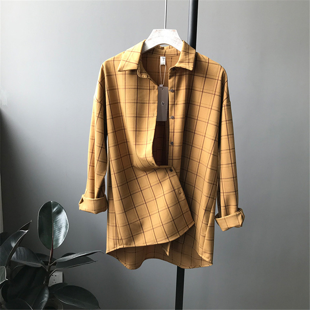 Loose cotton Checkered plaid College blouses shirt Cage female long sleeve Casual women Blouse shirt office lady tops (10)