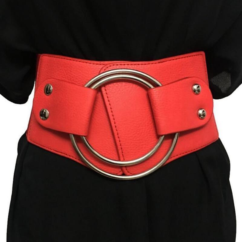Damen Bogenschließe Gürtelschnalle Stretch Kunstleder Elastisch Taillengürtel