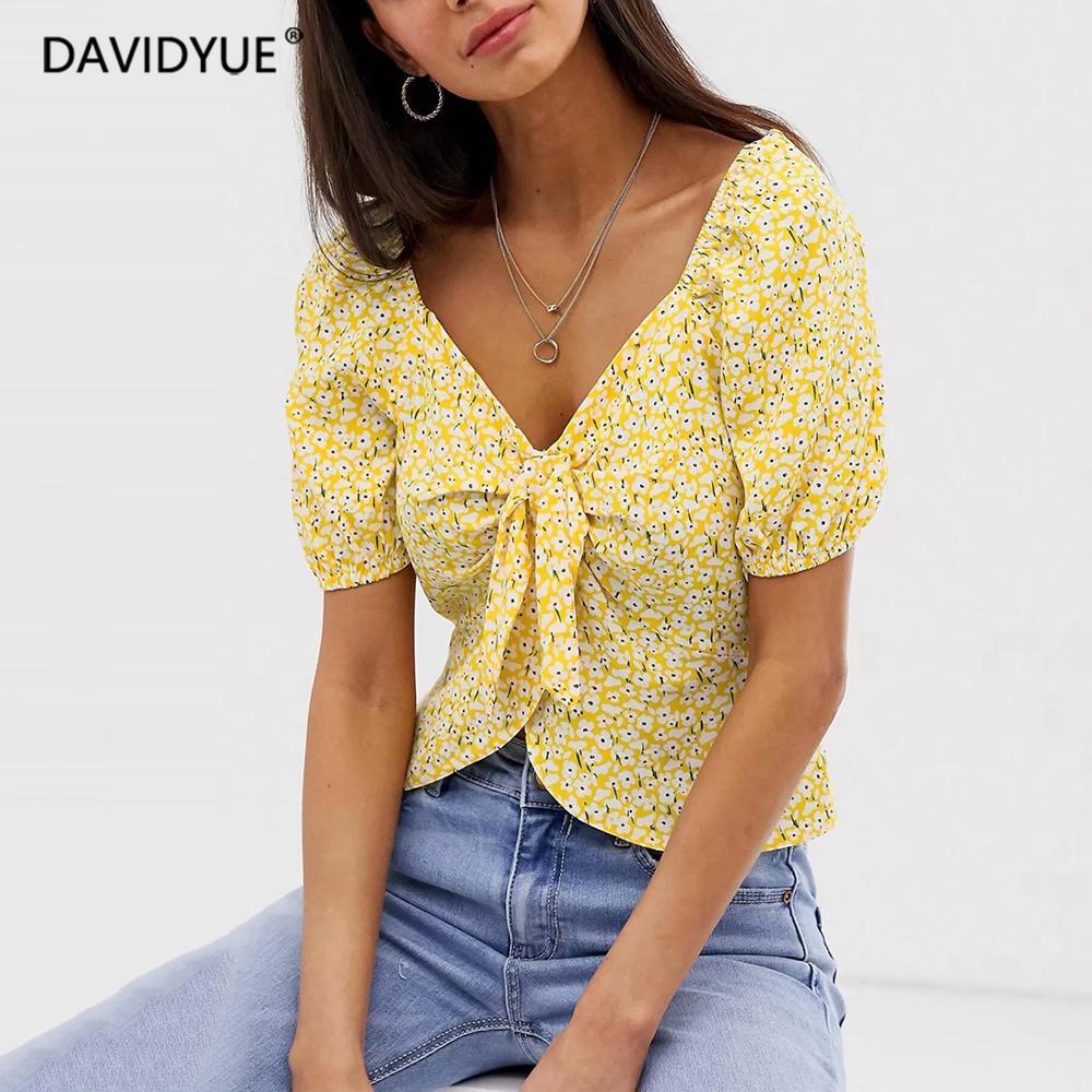 Boho élégant noeud papillon chemisier femmes tops été vintage imprimé floral jaune femmes chemises vêtements coréens streetwear 2019 blusas