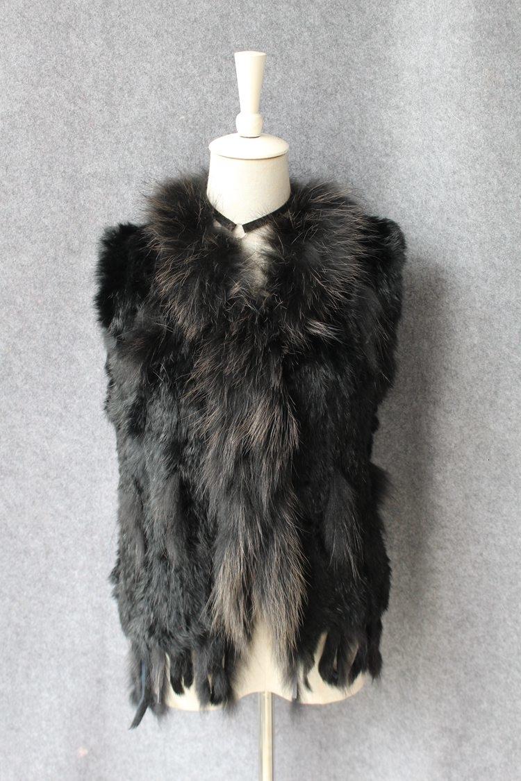 genuine real rabbit fur vest with raccoon fur collar (40)