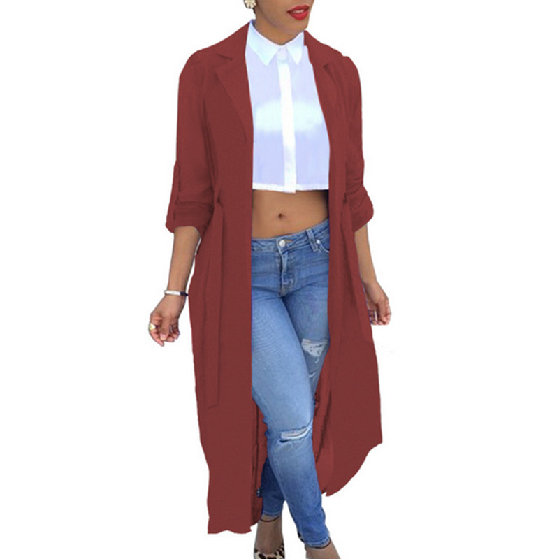 Summer Women Long Sleeve Chiffon Cardigan Sexy See-Through Ladies Lapel Long Jacket Blouse Shirt Beach Cover Up