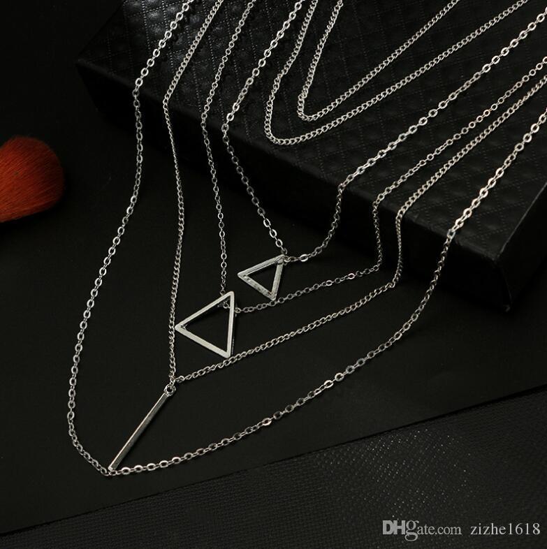 Necklace Pendant Set Silver Retro Beach Triangle Chain Summer Woman Girl Gift Fashion Wholesale Fashion Jewelry