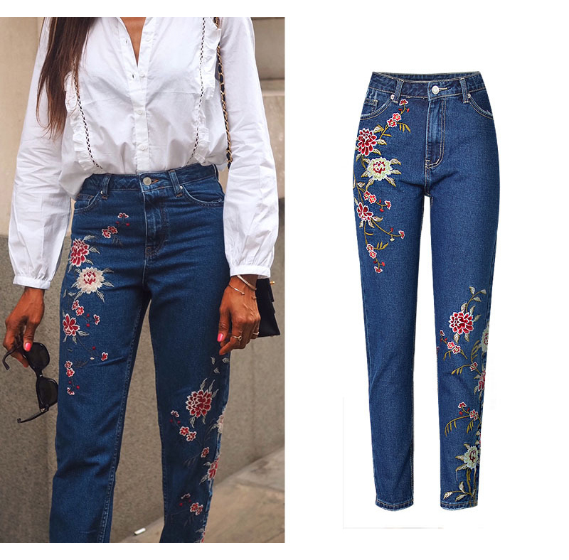 2017 European and American women 3D stereo front and rear side embroidery high waist Slim cowboy nine feet pants fashion wild (6)