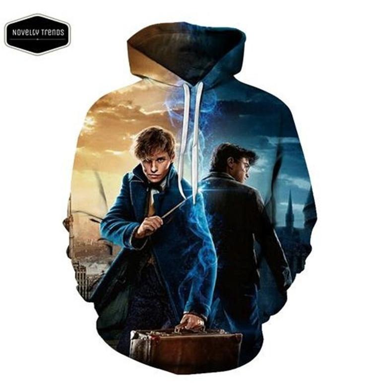 Mode d/'impression 3D Harry Potter Poudlard Homme Pull à Capuche Décontracté Pull Manteau