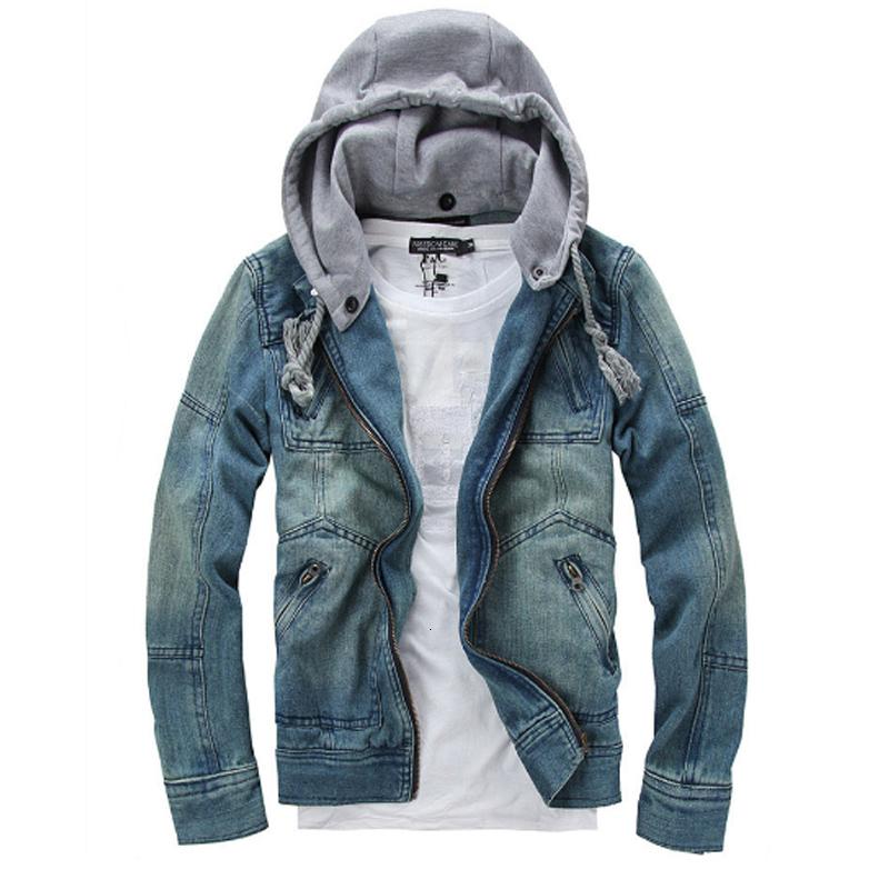 2016 Hot Sale Foreign Male Fashion Denim Jacket Detachable Hooded Men Denim Jacket Denim Jacket Jeans Size M-5XL