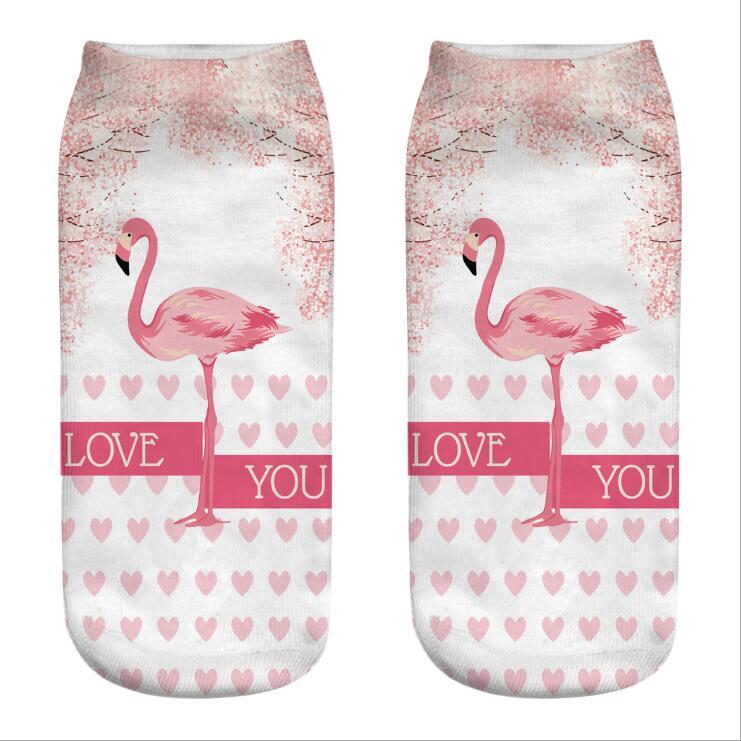 Unisex Tropical Flamingo Pink Athletic Quarter Ankle Print Breathable Hiking Running Socks