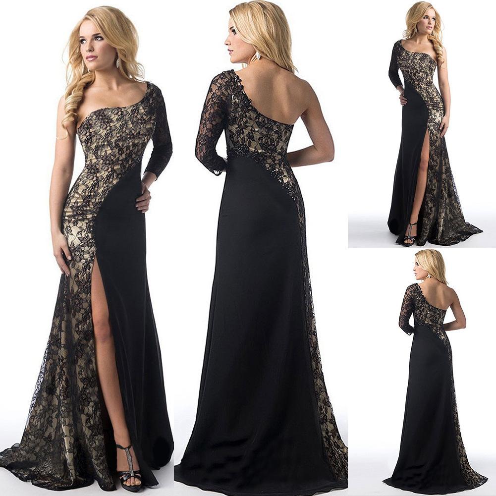 sexy spitzenkleid frauen split schulter-dünnes kleid  frühling-sommer-frauen-kleid 3 farbe schönes vestido plus size 5xl