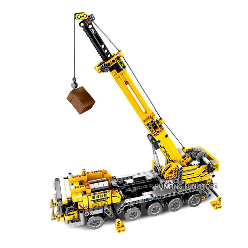 Technic Series Mobile Crane Set With Mini Figures Truck Educational Model Building Blocks Toys For Children Boy Gifts Fit CityMX190820