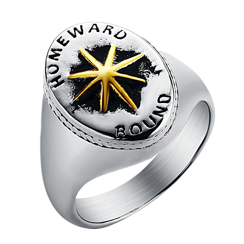 Women Mens Star Horseshoe Stainless Steel Ring Silver With Star Punk Rock n Roll