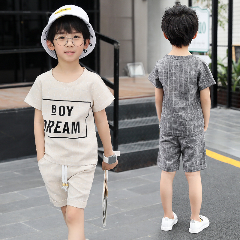 Children's Suit Boy Sports Suit Summer New Cotton Casual Short Sleeve T-shirt + Shorts Fashion Two Piece Set White And Gray