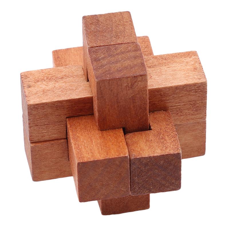 Деревянный Kong Ming Lock IQ Brain Teaser Блокировка Burr Пазлы Игры Игрушки Для Взрослых Детей Перевозка Груза Падения