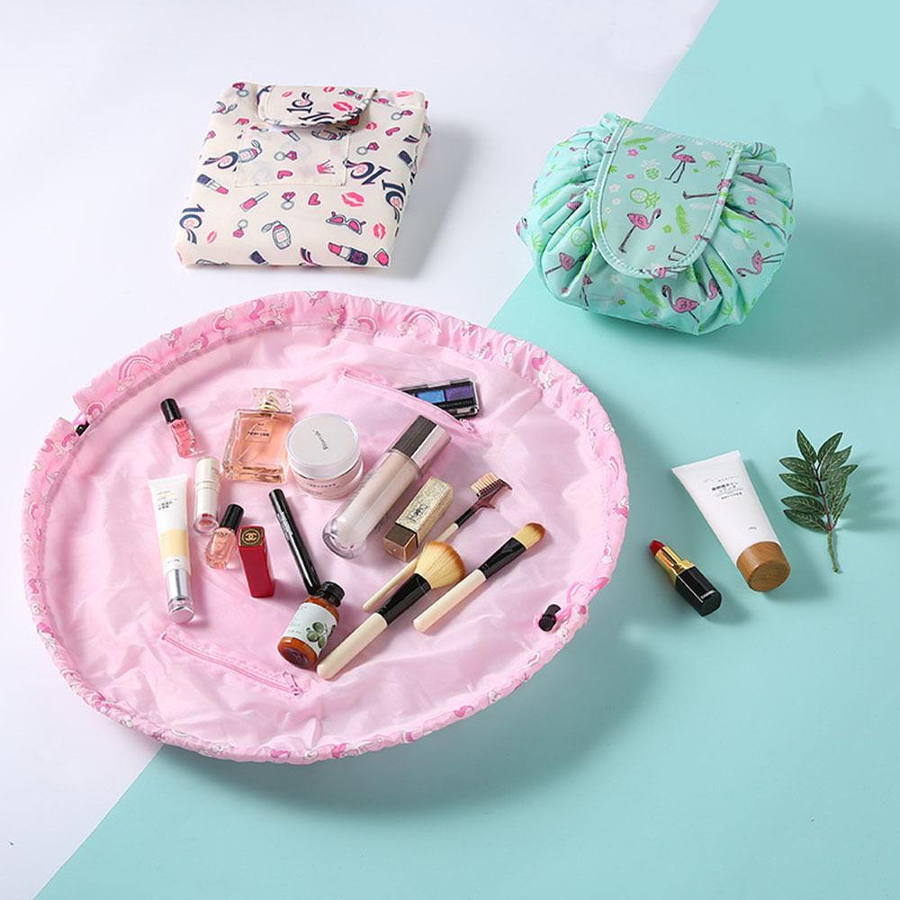 Design de impressão Saco de Cosmética Com Cordão Maquiagem Caso Mulheres Viajar Make Up Organizador Bolsa De Armazenamento De Higiene Pessoal Wash Kit Para Lady