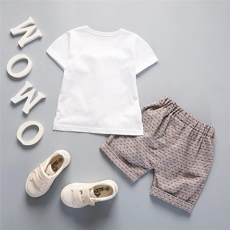 2Pcs Baby Sets Boy Toddler Kids Baby Boys Short Sleeve Solid Tie T-shirt Top+Print Pants Set Baby Boy Clothes Clothing M8Y18 (4)