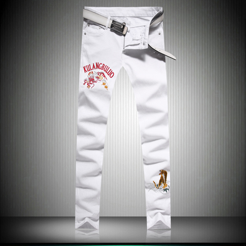 Pop2019 Jeans Autumn Small Directly Canister Self-cultivation Trousers Dragon Embroidery Men's Wear White Bound Feet Pants
