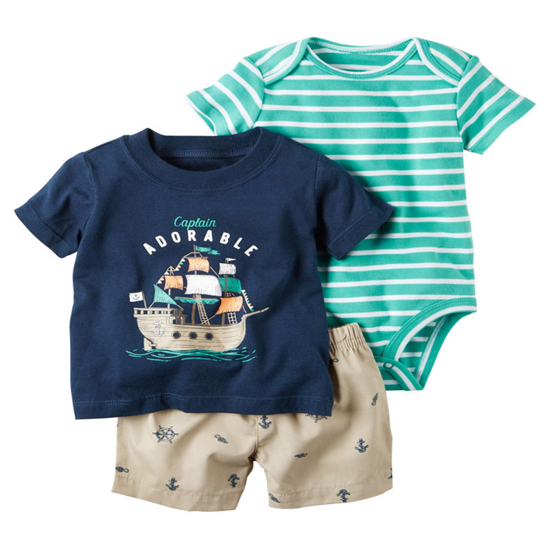 2019 summer baby boy clothes Short Sleeve t-shirt tops+romper+shorts newborn outfit new born suit infant clothing set cotton